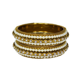 Pearl And CZ Stones Adorned Pair Of Bangles, 2-8