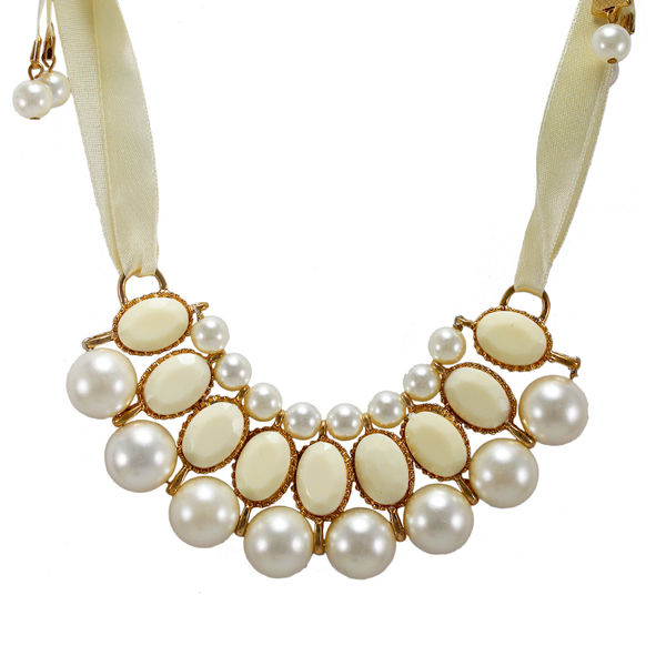 White Ribbon Tie Up Necklace Adorned With Stones And Pearl