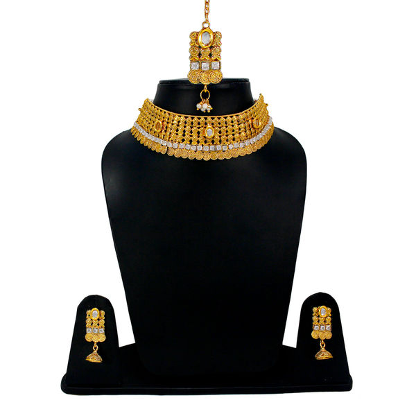 Classy Gold Tone Bridal Necklace Set For Women