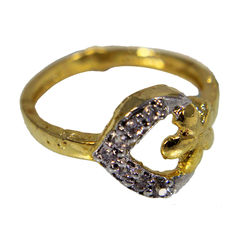 Golden Heart Studded With White Stone And Flower, 11