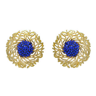 Gold Tone American Diamond Adorned Stud Earrings