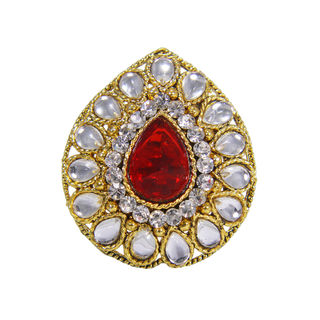 Red Stone And Kundan Studded Ethnic Ring For Women, adjustable