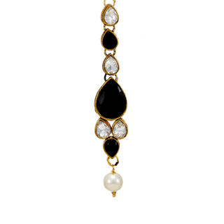 Black And White Maang Tikka With Dangling Pearl
