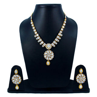 Silver Stones Adorned Necklace Set With Kundan