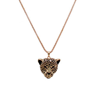Black And Golden Tiger Face Statement Pendant For Women