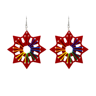 Red Wooden Star With Silk Thread Work For Women