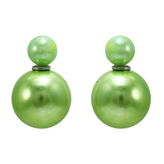 Light Green Pearl Ball Adorned Reversible Studs