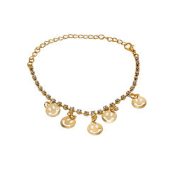 Smiley Design Anklet Studded With White Stones