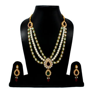 Classy Necklace Adorned With Pearl And Red Green Stones