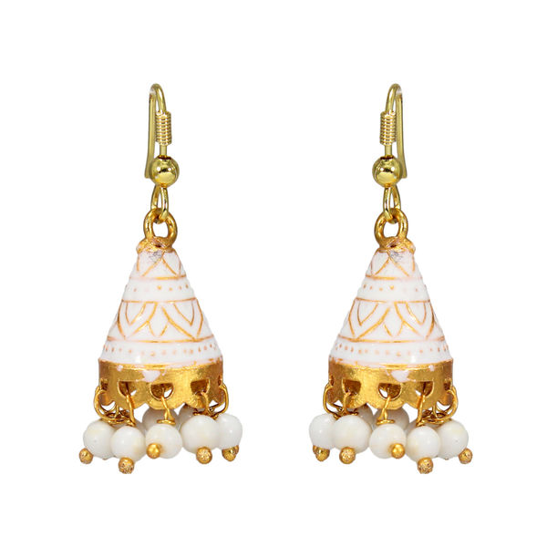 White And Golden Meenakari Jhumki With Dangling Pearls