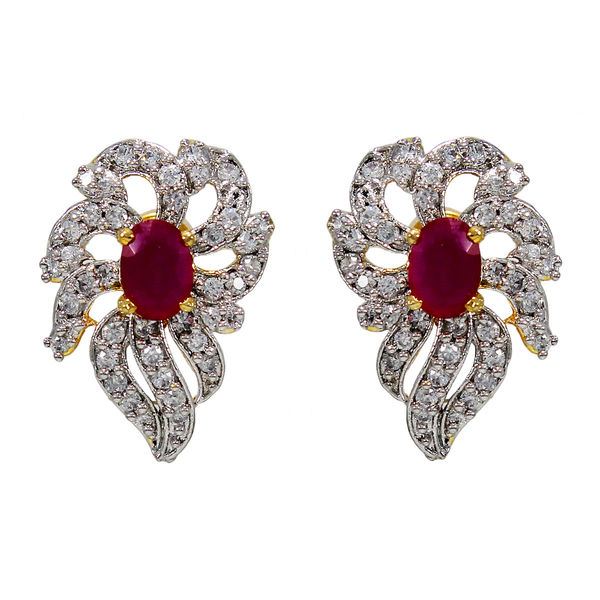 Pink Stone And American Diamond Adorned Studs