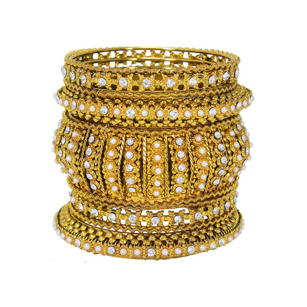 Beautiful Golden 5Pc Bangle Set In Alloy, 2-8