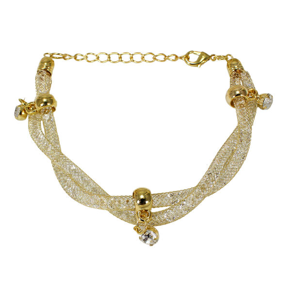White Crystal Filled Golden Bracelet For Girls, free size