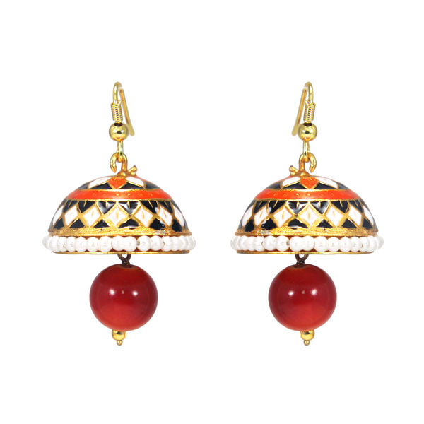 Small length Orange Jhumki Adorned With Pearls