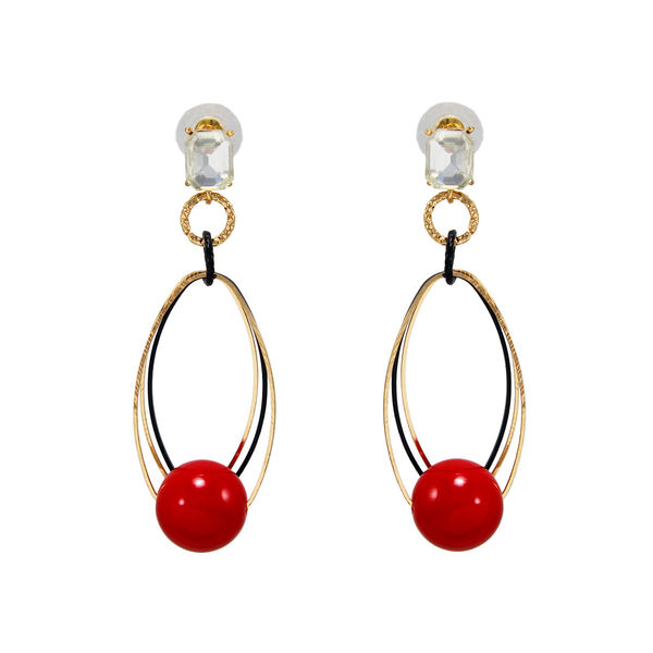 Stunning Gold Tone Dangler Adorn With Pearl And Stone