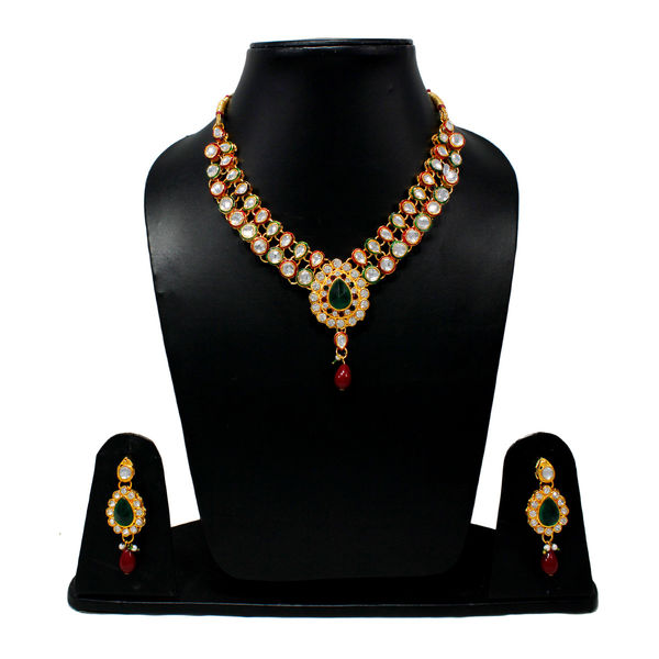 Red And Green Combination Traditional Necklace