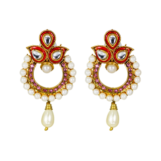 Designer Ethnic Danglers In Pink With Kundan And Pearl