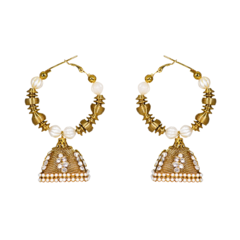 Golden Ethnic Baali Studded With Pearl For Women