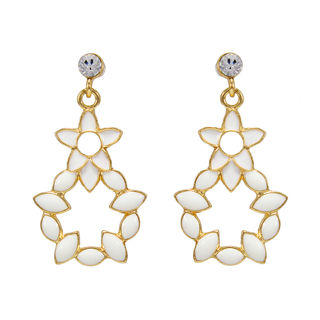 Gold Tone Danglers With White Leaf Design