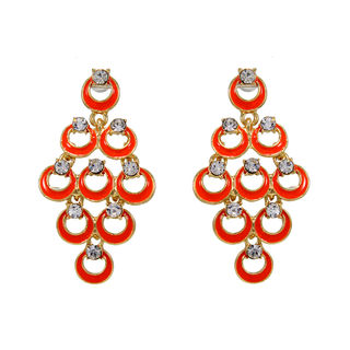Designer Orange Fashion Danglers For Women