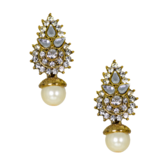 Ethnic Gold Tone Stud Earrings With Dangling Pearl