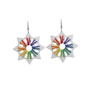 White Wooden Danglers With Multi Color Silk Thread