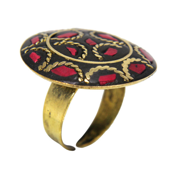 Round Shape Antique Ring In Red And Golden For Women, adjustable