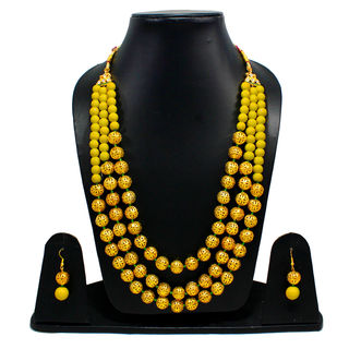 Yellow And Golden Beads Triple Layer Necklace
