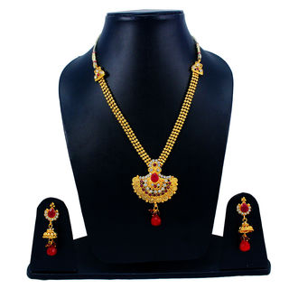 Beautiful Golden Necklace Set Adorned With Maroon Stones