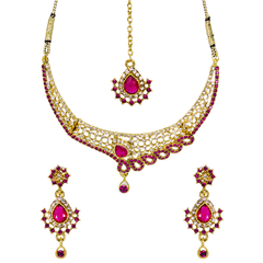 Pink And White Stone Ethnic Necklace With Earrings And Maang Tikka