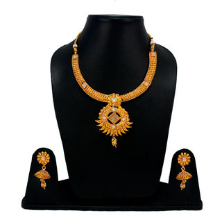 Gorgeous Gold Tone Necklace Set With White Stones For Women