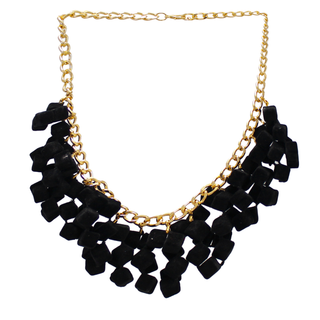 Black Velvet Cube Fashion Necklace Set