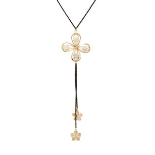 Silver Crystals With Golden Floral Design Pendant