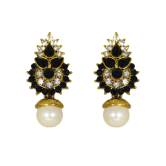 Black And White Stone Studded Earrings In Gold Tone