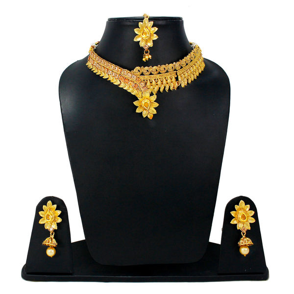 Gold Tone Floral Design Necklace Set For Women