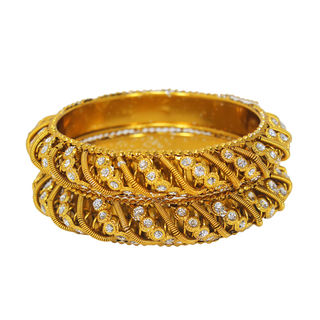 Gold Tone Designer Pair Of Bangles With CZ Stones, 2-10