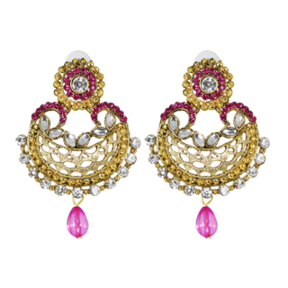 Golden Pink Ethnic Dangler Earring