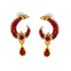 Gold Tone Red And White Stone Studded Earrings