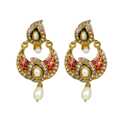 Ethnic Earrings In Pink With Dangling Pearl