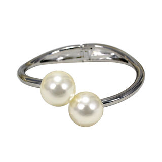 Beautiful Pearl Adorned Silver Finished Bracelet For Girls, adjustable
