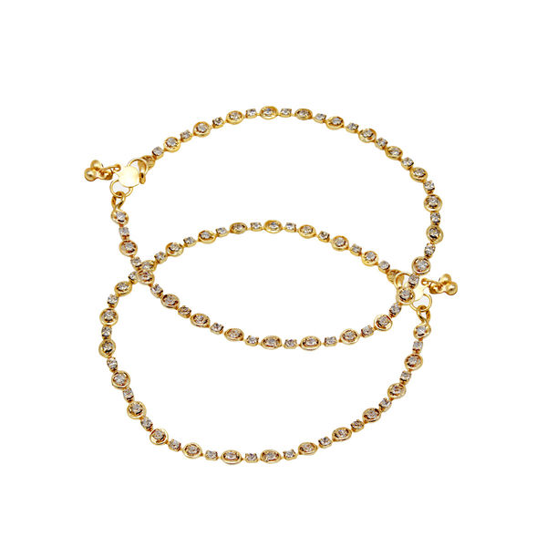 Beautiful Gold Tone Anklet Set Studded With Stones