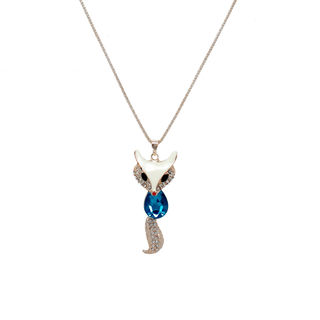 White And Golden Fox Design Pendant With Chain