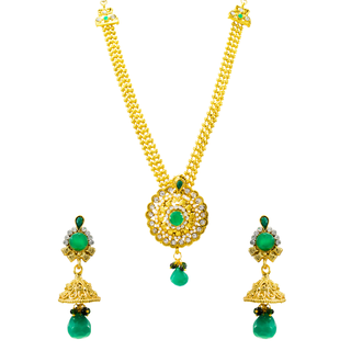 Golden And Green Necklace Set Studded With CZ Stone