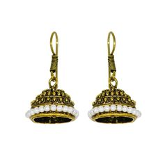 Golden Oxidized Jhumki Studded With Pearls For Women