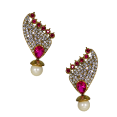 Pink Designer Stud Earrings With CZ Stones For Women