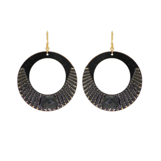 Black Metallic Danglers Earrings With Acrylic Stone
