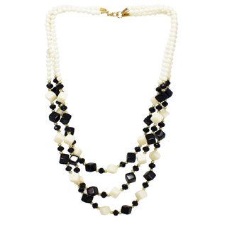 Black White Square Beads long Necklace
