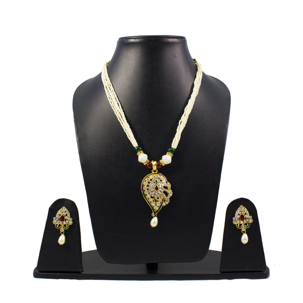 Pearl Dori Pendant Set Studded With Red And Green Stone