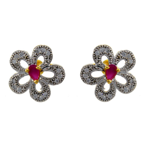 Pink Floral American Diamond Stud Earring For Girls