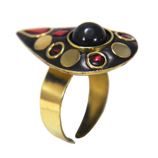 Red And Golden Stones Brass Fashion Ring, adjustable